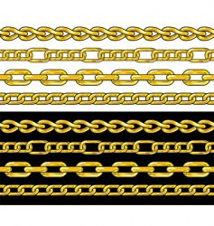 Gold chain seamless borders set vector