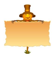 Halloween invitation with scarecrow vector