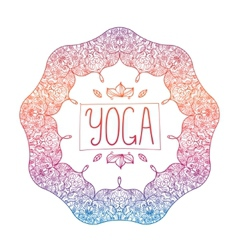 Hand drawn ornamental colorful yoga badge vector