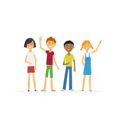 happy standing children - cartoon people vector image