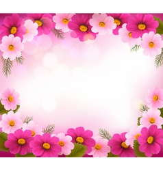 Holiday frame with colorful flowers vector image vector image
