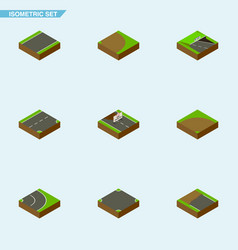 Isometric road set of asphalt crossroad down and vector