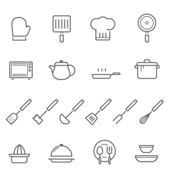 Lines icon set - kitchenware vector image