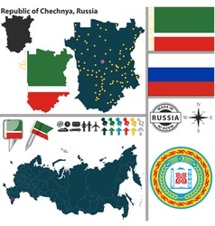 Map of Republic of Chechnya vector image vector image