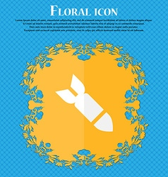 MissileRocket weapon Floral flat design on a blue vector image