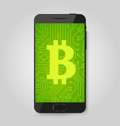 mobile phone with bitcoin sign crypto payment vector image