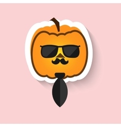 Pumpkin hipster in sunglasses and tie vector image