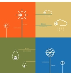 Set icons indicate weather clear cloudy rain vector