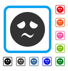 Trouble smiley framed icon vector