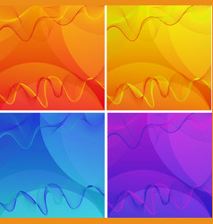 wavy lines on four different color backgrounds vector image