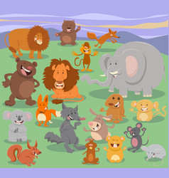 Wild animal characters group vector