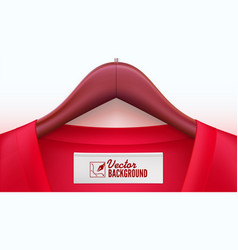 Wooden clothes hangers with red t-shirt and tag on vector