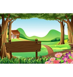Wooden sign and countryside scene background vector