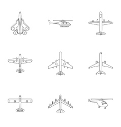 Army planes icons set outline style vector