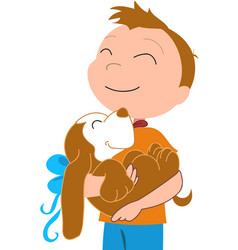happy boy with a dog vector image