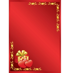 Red romantic frame with golden decor vector