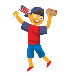 Boy holding a hotdog and waving usa flag vector