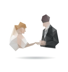 Bride and groom isolated on a white backgrounds vector