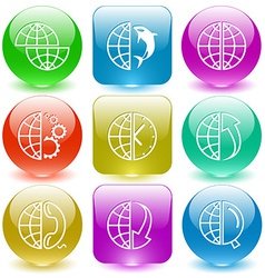shift globe globe and shamoo and gears and clock vector image