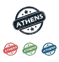 Round athens city stamp set vector