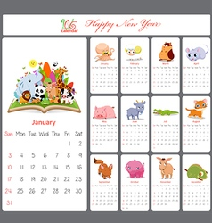 Unusual calendar for 2016 with cartoon and funny vector