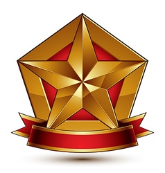 3d golden heraldic blazon with red filling and vector