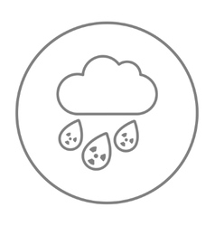 Radioactive cloud and rain line icon vector