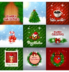 Christmas set decoration merry christmas card set vector
