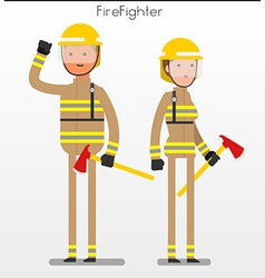 Flat character fire fighter vector