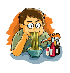 Man eating noodles vector