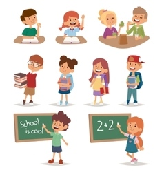 Group school kids going study together childhood vector