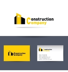 Construction company business card template vector