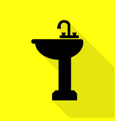 Bathroom sink sign black icon with flat style vector