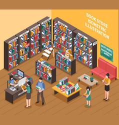 Book shop isometric vector