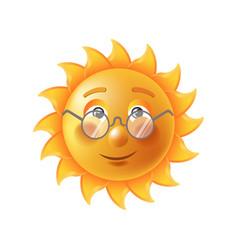 Bright sun in eyesight glasses funny cartoon vector