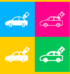 Car sign with tag four styles of icon on four vector