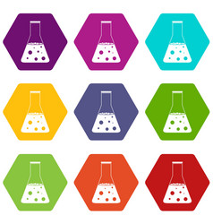 Chemical flask icon set color hexahedron vector