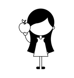 Cute girl with apple character icon vector