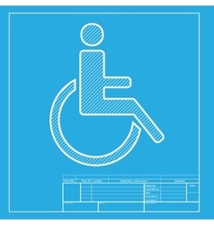 Disabled sign white section of icon vector