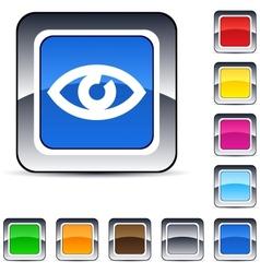 Eye square button vector