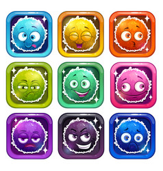 funny cartoon colorful fluffy characters vector image