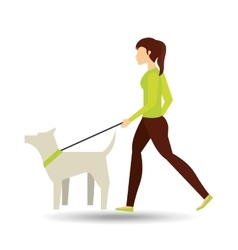 girl walking a white dog vector image