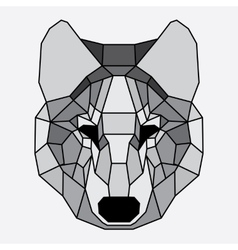 Gray lined low poly wolf vector