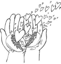 Hands full of flying hearts vector image vector image