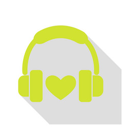 headphones with heart pear icon with flat style vector image vector image