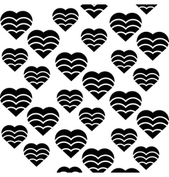 hearts love seamless pattern black and white vector image