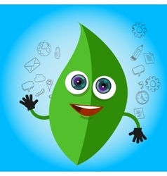 leaf smile cartoon character green eco big eyes vector image