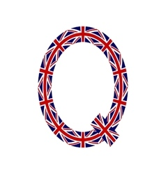 Letter Q made from United Kingdom flags vector image vector image