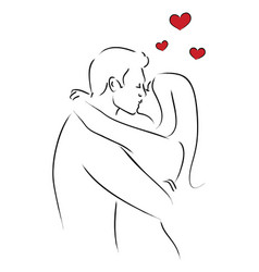 Line art of kissing couple vector