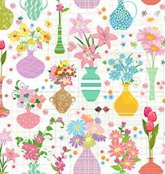 lovely seamless texture with modern variety vases vector image vector image